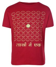 Sabudana Red Half Sleeves T Shirt - Smileys Print