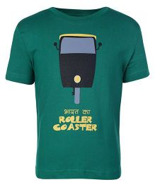 Sabudana Green Half Sleeves T Shirt - Roller Coaster Print