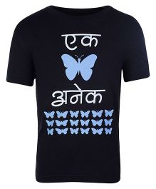 Sabudana Black Half Sleeves T Shirt - Butterfly Print