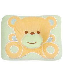 Bear Print Baby Pillow - Orange and Green