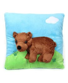 Baby Pillow with attached Soft Toy Blue - Bear
