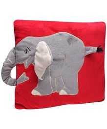 Elephant Print Baby Pillow - Red and Grey