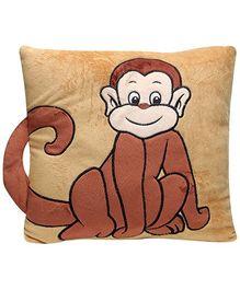 Monkey Print Baby Pillow - Brown