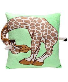 Giraffe Print Baby Pillow - Green and Brown