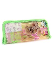 Pencil Pouch Bear Print Green