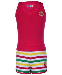 SAPS Sleeveless T Back T Shirt And Stripes Shorts - Pink