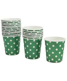 Karmallys Paper Cups Green Dotted Print - 200 ml