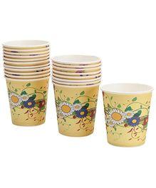 Karmallys Paper Cups Yellow Flower Print -  210 ml