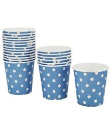 Karmallys Paper Cups Blue Dotted Print - 210 ml