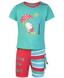 FS Mini Klub Half Sleeves T Shirt And Shorts Green - Beach Side Print