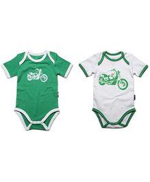 Claesens Short Sleeves Sleep Suits Bike Print Green - Pack Of 2