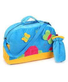Sapphire Diaper Bag with Bottle Cover Blue - Butterfly Design