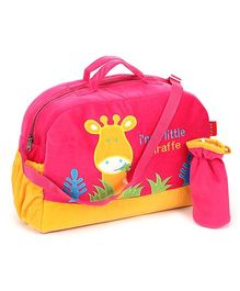 Sapphire Diaper Bag with Bottle Cover Pink - Giraffe Design