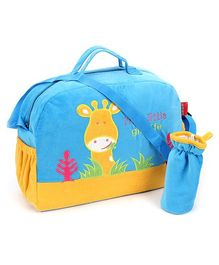 Sapphire Diaper Bag with Bottle Cover Blue - Giraffe Design