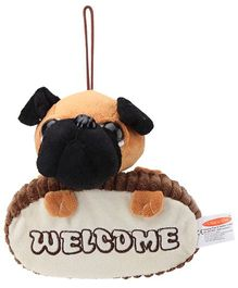 Play N Pets Sitting Bull Dog Door Hanger Black and Brown - 18.5 cm