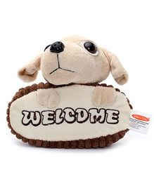 Play N Pets Doggy Soft Toy Door Hanger - Cream