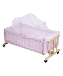 Baby Cradle With Mosquito Net Pink - Flower Print