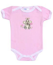 Honey Bunny Bear Print Onesies- Pink