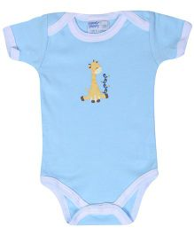 Honey Bunny Blue Half Sleeves Onesies - Giraffe Print