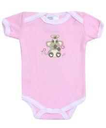 Honey Bunny Pink Half Sleeves Onesies - Teddy Bear Print