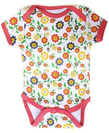Earth Conscious Half Sleeves Onesies White - Sunflowers Print