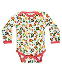 Earth Conscious Full Sleeves Onesies White - Sunflowers Print