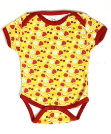 Earth Conscious Half Sleeves Onesies Yellow - Fruits Print