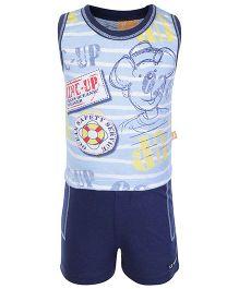 Little Kangaroos Sleeveless T Shirt And Shorts Blue - Voyager Print