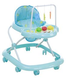 Fab N Funky Musical Baby Walker - Sky Blue With Bear Print On Seat