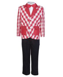 SAPS Full Sleeves 4 Pieces Party Suit with Check Print - Red
