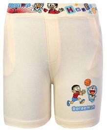 Cucumber Shorts Light Yellow - Doraemon Print