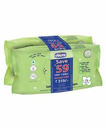 Chicco Soft Cleansing Wipes Pack of 2 - 72 Pieces each