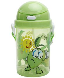 Fab N Funky Green Push Button Sipper Bottle with Fruit Print - 400 ml