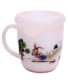 Fab N Funky Pink Mug with Lid - 400 ml