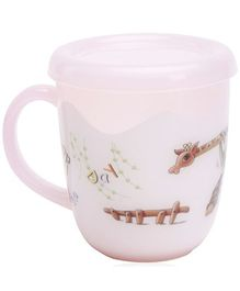 Fab N Funky Pink Mug with Lid Giraffe Print - 400 ml