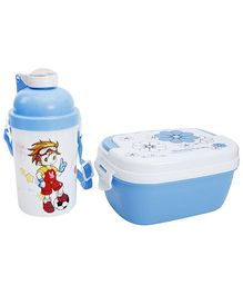 Fab N Funky Lunch Box With Flip Top Bottle - Blue