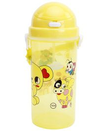 Fab N Funky Yellow Push Button Sipper Bottle with Animal Print - 570 ml