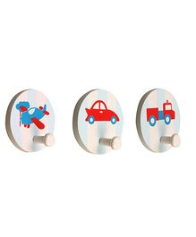 Fly Frog Round Peg Printed Wall Hooks - Set Of 3