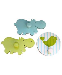Fly Frog Hippo Shaped And Bird Printed Wall Hooks - Set Of 3