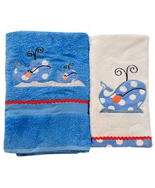 Fly Frog Dolphin Printed Towels - Set Of 2