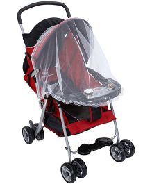 Musical Baby Stroller Cum Pram With Mosquito Net Red And Black - T208C-1