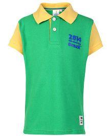 FIFA Half Sleeves Polo T Shirt Green - 2014 Brazil Print