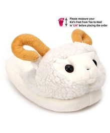 IR Plush Slippers With Sheep Face - White and Orange