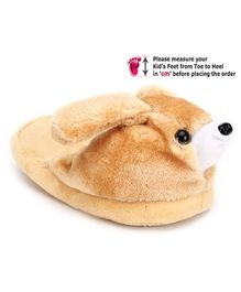IR Plush Slippers With Puppy Face - Brown