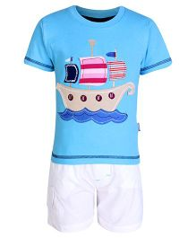 Child World Half Sleeves T Shirt And Shorts Blue - Ship Patch Work