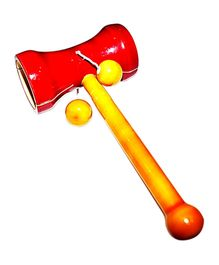 Desi Toys Dumbroo Jhun Jhuna Rattle - Red and Yellow