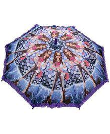 Fab N Funky Disco Girl Print Kids Umbrella - Purple