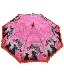 Fab N Funky Party Girls Print Kids Umbrella - Multi Colour