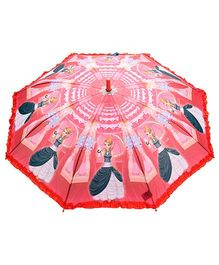 Fab N Funky Kids Umbrella with Frills and Girl Print - Red