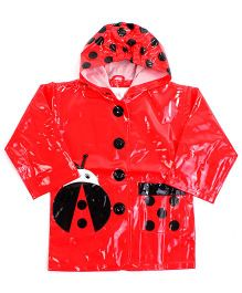 Minister Hooded Raincoat With Front Pocket Red - Beetle Print